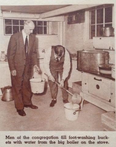 Lovefeast - Men filling foot-washing buckets